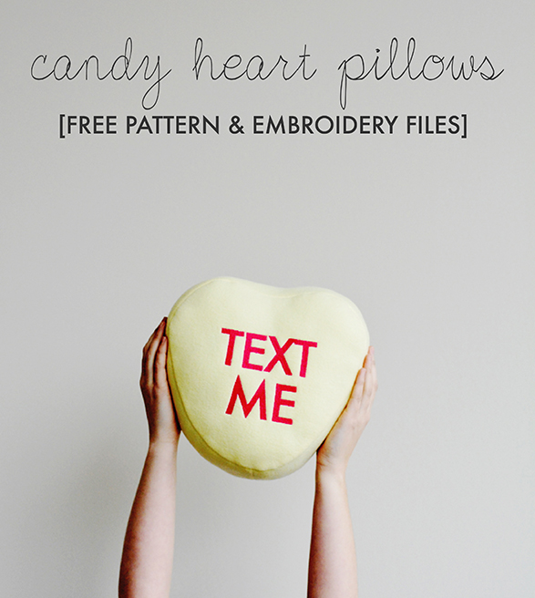 Candy Heart Pillows - Free Pattern and Embroidery Files